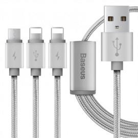 Baseus HızlıŞarj Kablosu 3-in-1 + Mikro USB + Type -C Kablo 1.2 Metre