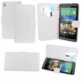 HTC Desire 816 Kapaklı Cüzdanlı Deri Kılıf - Beyaz